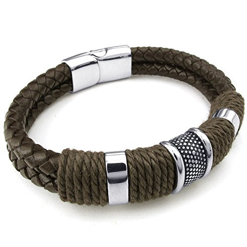 Men Leather Stainless Steel Bracelet, Braided Cuff Bangle, Brown Silver - 8, 8.5, 9 inch - InnovatoDesign