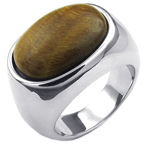 Men Stainless Steel Ring, Classic Tiger Eye Band,