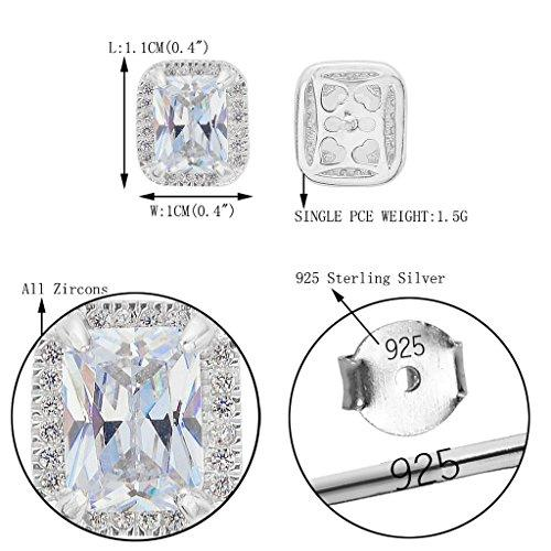 925 Sterling Silver Cubic Zirconia Wedding Square Elegant Stud Earrings Clear