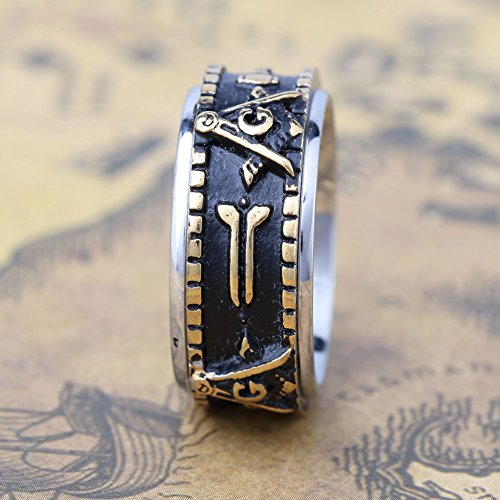 Men's Womens Stainless Steel Spin Masonic Freemason Rings Silver/Gold Tone