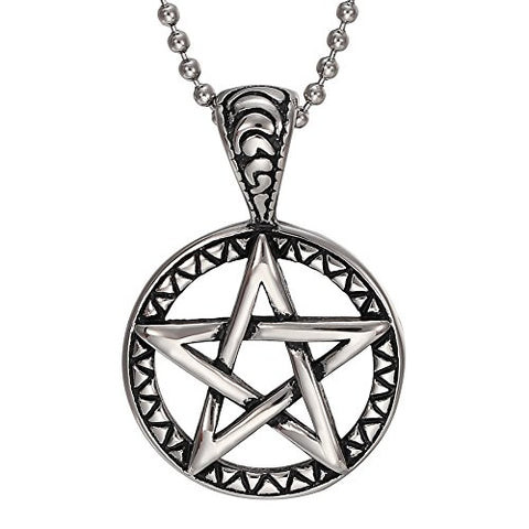 Stainless Steel Geometric Pentagram Pendant Necklace