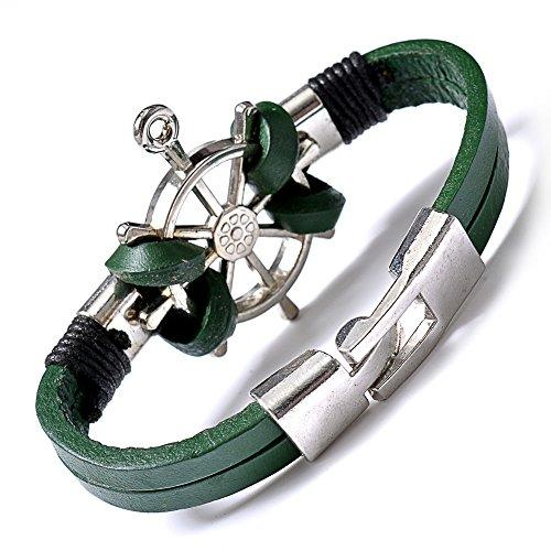 Fashion Bracelet Anchor Strand Stretch Bangles For women Mens Unisex Green