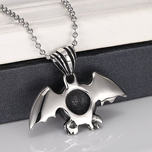 Stainless Steel Silver Red Devil Eye Bat Wing Men Pendant Necklace,24'' Link Chain - InnovatoDesign