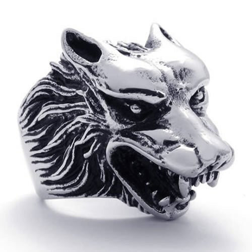 Vintage Biker Men Wolf Head Stainless Steel Ring