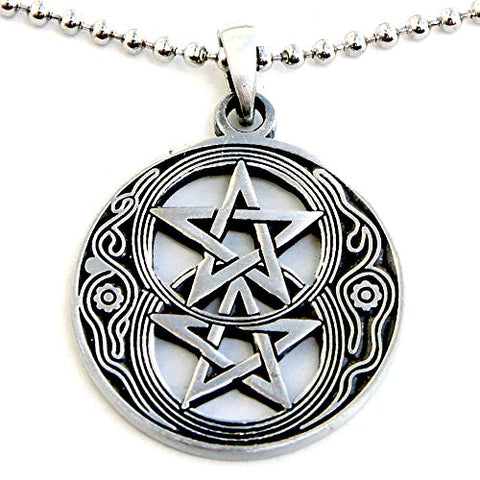 Silver Double Pentacle Wiccan Pendant Pewter Necklace