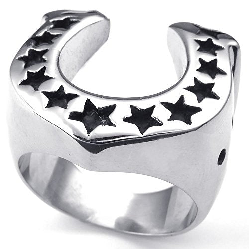 Men Stainless Steel Ring, Star Horseshoe,
