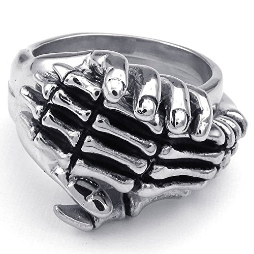 Men Stainless Steel Ring, 1 Pair 2pcs Combined Gothic Skull Skeleton Hand,