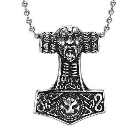 Stainless Steel Odin Thor's Hammer Pendant Chain Necklace