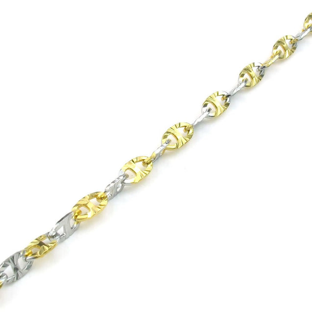 Women Stainless Steel Necklace, Classic 2-Tone Links Chain, Gold Silver - InnovatoDesign