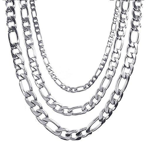 5-9mm 18-40 inch Figaro Links Stainless Steel Chain Men Necklace, Silver,