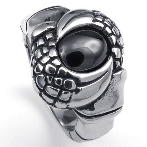 Vintage Stainless Steel Gothic Dragon Claw Biker Men Ring Black - InnovatoDesign