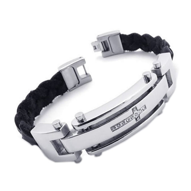 Men Stainless Steel Leather Cross Cuff Bracelet Bangle Silver Black, 8.6 Inch - InnovatoDesign