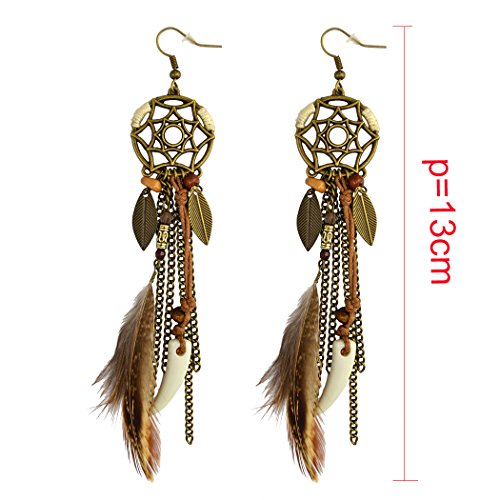 Vintage Feather Dangle Wolf Tooth Earrings - InnovatoDesign