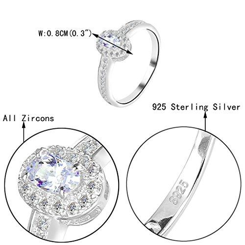 925 Sterling Silver Oval Prongs CZ Wedding Engagement Ring Clear