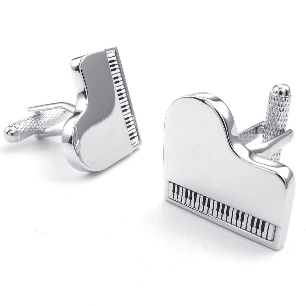 2pcs Rhodium Plated Men Piano Shirts Cufflinks, Wedding, Silver, 1 Pair