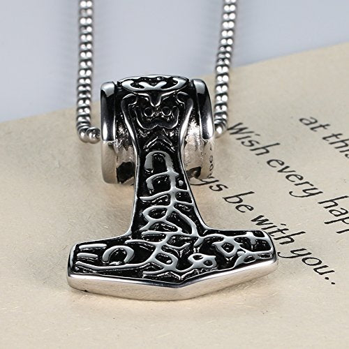 Jewelry Massiness Vintage Stainless Steel Band Myth Thor's Hammer Pendant Necklace , 24''chain - InnovatoDesign
