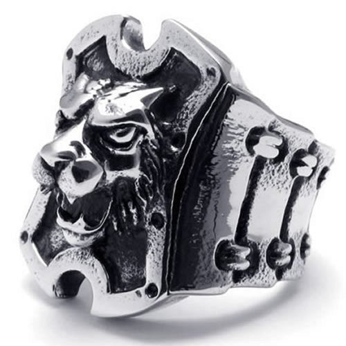 Vintage Stainless Steel Band Tiger Lion Wolf Men Ring,Black