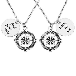 """Find Your Way Back To Me"" Compass Friendship Necklaces Set of 2"