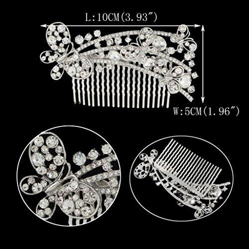 4 Butterfly Wedding Hair Comb Clear Austrian Crystal Silver-Tone