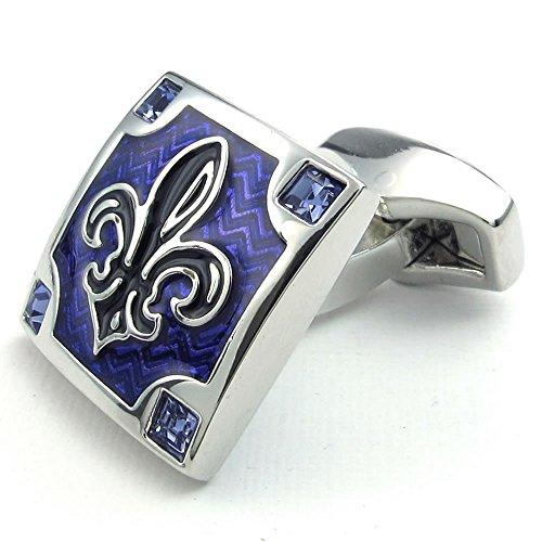 2pcs Rhodium Plated Men Fleur De Lis Square CZ Shirts Cufflinks, Wedding, Blue Silver, 1 Pair