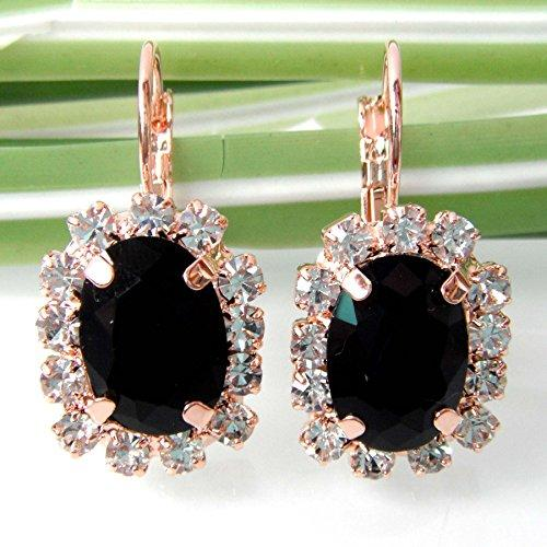 18k Gold Plated Black Crystal Square Acatate Az2219e Leverback Earrings