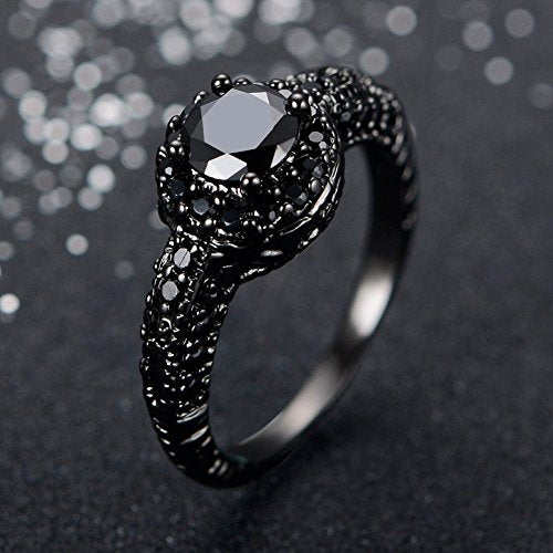 Jewelry Black Cubic Zircon Black Onyx Stone Engagement Wedding Rings for Women - InnovatoDesign