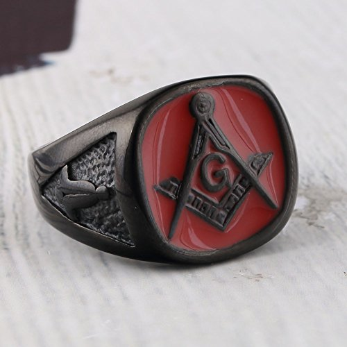 Red Enamel Stainless Steel Mason Freemason Vintage Solid Black Plated G Ring - InnovatoDesign