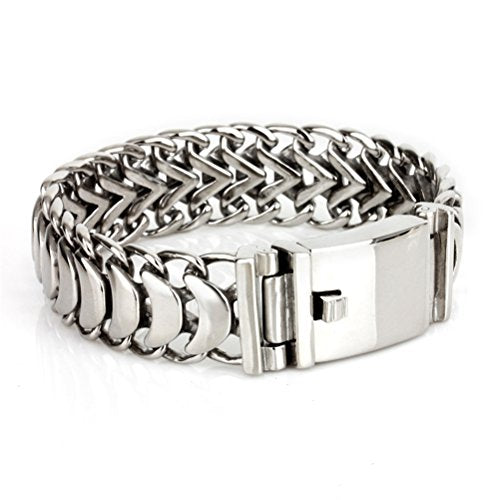 Men's Biker Silver Titanium Stainless Steel Rock Punk Style Link Cuff Personalized Cool Keel Big Chain Bracelet - InnovatoDesign