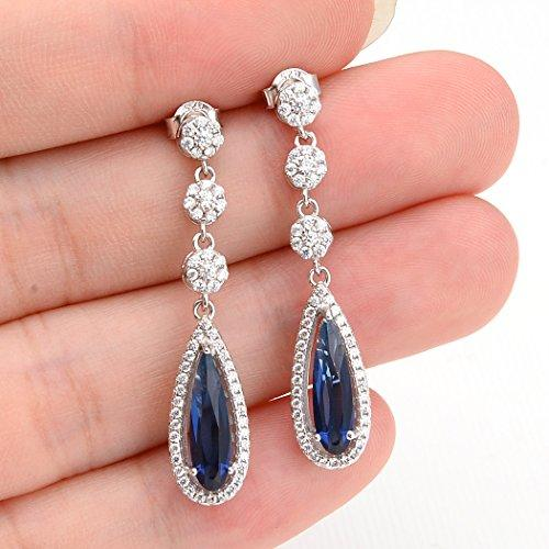 925 Sterling Silver Full CZ Tear Drop Wedding Chandelier Earrings Blue Sapphire Color