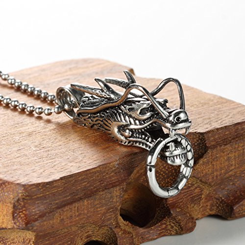 Men's Titanium Stainless Steel Retro Overlord King Dragon Head Pendant Necklace,free 24'' Chain