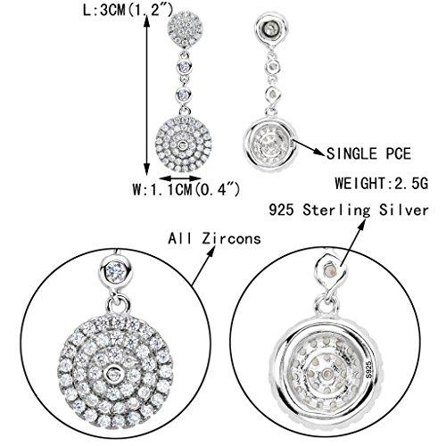 925 Sterling Silver Full Cubic Zirconia Elegant Circle Round Wedding Dangle Earrings Clear