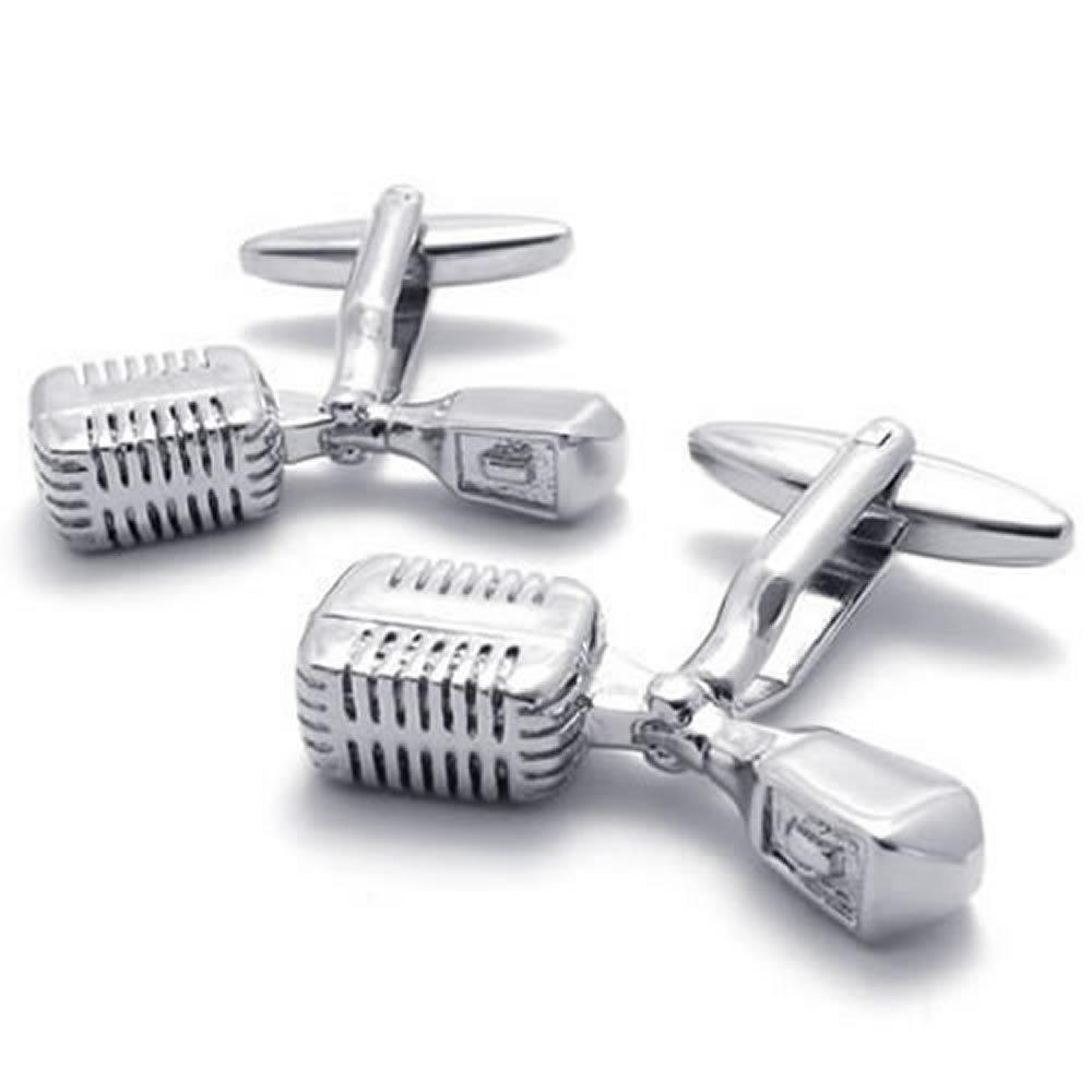2pcs Rhodium Plated Classic Personalized Unique Music Mike Shirts Men Cufflinks, Silver, 1 Pair