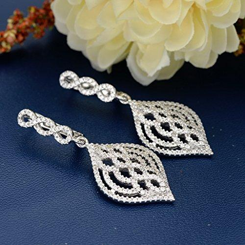 925 Sterling Silver CZ Chandelier Figure 8 Infinity Teardrop Dangle Earrings Clear