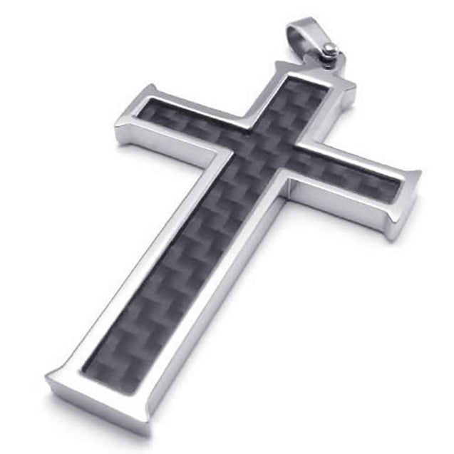Carbon Fiber Stainless Steel Men Cross Necklace Pendant, Black Silver, 24 inch Chain