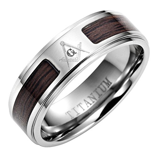 Men`s Titanium Masonic Ring Wooden Inlay,Latin Engraving inside - InnovatoDesign