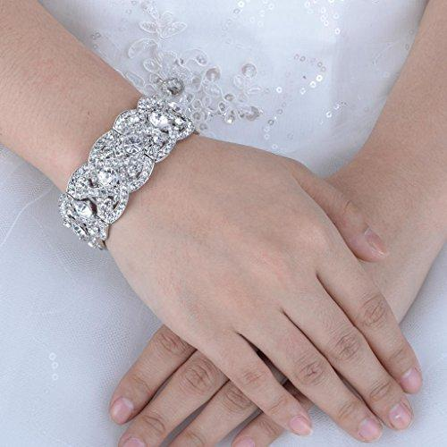 Austrian Crystal Wedding Art Deco Elastic Stretch Bracelet Clear