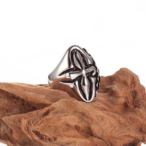 Men's and Women's Round Flowers Stainless Steel Skull Gothic Biker Ring, Size 8-12