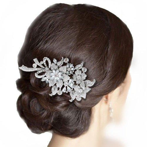 4.4 Inch Bridal Silver-Tone Orchid Flower Bow Austrian Crystal Clear Hair Comb