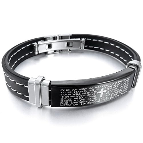 Men,Women's Stainless Steel Rubber Bracelet Bangle Cuff Black Cross Bible Lords Prayer - InnovatoDesign