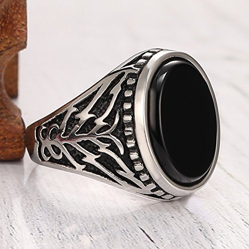 Men's Stainless Steel Ring Agate Black Engraved Vintage,retro Gem Ring