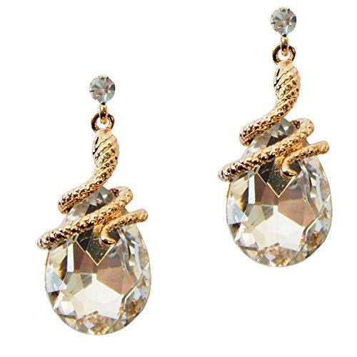 18k Gold Plated Crystal Clear Zircon Snake Drop Dangle Earrings