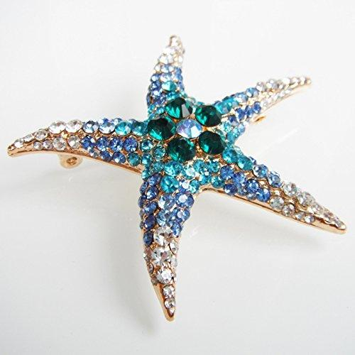 18k Gold Plated Blue Crystal Starfish Brooch pin