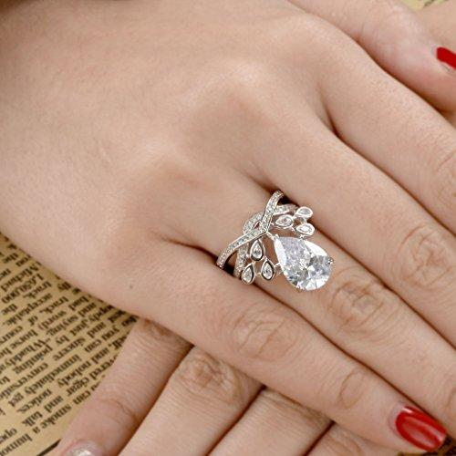 925 Sterling Silver CZ Luxurious Crown Teardrop Solitaire Engagement Ring Set Clear
