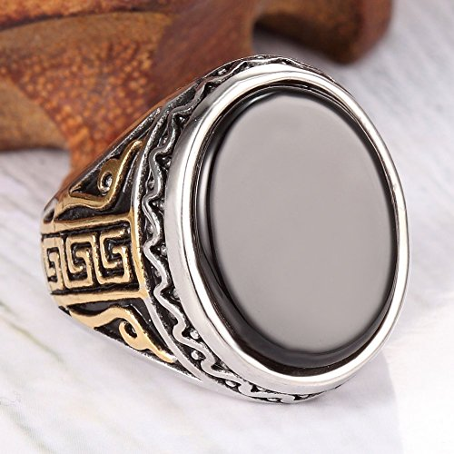 Men Women 316l Stainless Steel Agate Ring Black Gold Classic Vintage Retro