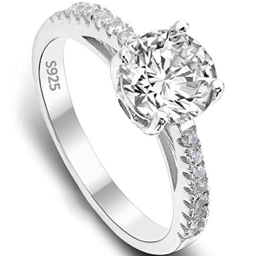 925 Sterling Silver Classical Round Cut .25ct Cubic Zirconia Engagement Ring Clear