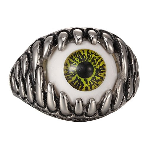 Men's Stainless Steel Yellow & Silver Gothic Skull Claw Evil Devil Eyeball Biker Ring Size 7-13