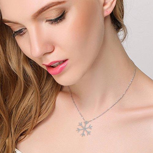 925 Sterling Silver Pave CZ Elegant Winter Snowflake Flower Pendant Necklace Chain Italy