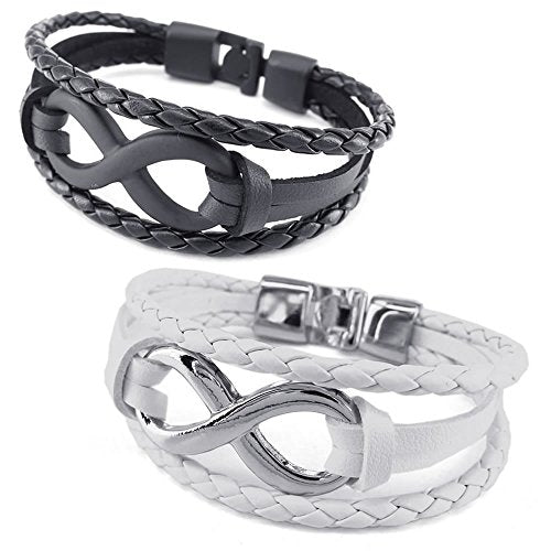 Men Women Leather Bracelet, 2pcs Infinity Bangle, Black White