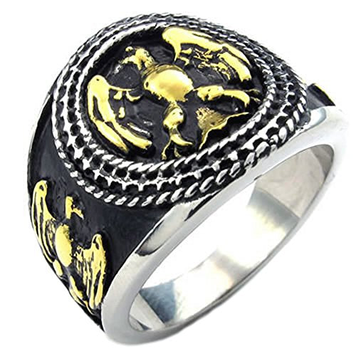 Men Stainless Steel Ring, Biker Vintage Gothic Eagle Hawk, Black