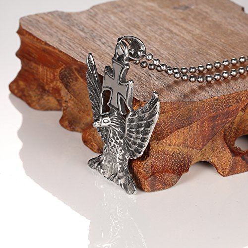 Men Gothic Tribal Stainless Steel Eagle Cross Pendant Necklace+24 Inch Chain